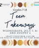 teen takeaways moon star sun graphic with program text