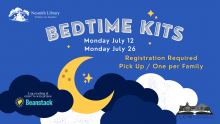 blue background with clouds and stars text: Bedtime Kits