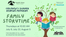 green background with children reading books in a tree graphic, text: nesmith library children's summer reading program family storytime